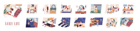 Set of everyday leisure and work activities performing by young woman. Bundle of daily life scenes. Girl sleeping, eating, working, doing sports, grocery shopping. Flat cartoon vector illustration