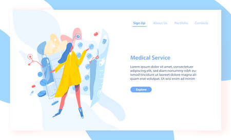 Landing page template with girl standing against blisters with pills, drugs, tablets or medications. Modern flat vector illustration for advertisement of online pharmacy, internet healthcare service Illustration