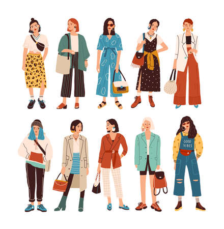 Collection of stylish young women dressed in trendy clothes. Set of fashionable casual and formal outfits. Bundle of cute girl hipsters or trendsetters. Flat cartoon colorful vector illustration Иллюстрация