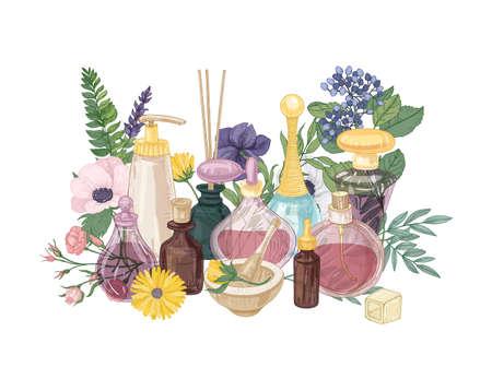 Composition décorative avec parfum ou eau de toilette dans des bouteilles en verre de différentes formes et tailles, bâtons d'encens aromatiques et fleurs épanouies. Illustration vectorielle réaliste dans un style vintage Vecteurs
