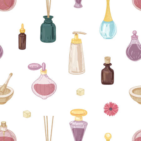 Seamless pattern with fragrant cosmetics, perfumes in glass bottles, mortar and pestle, incense sticks on white background. Elegant hand drawn vector illustration in vintage style for wrapping paper