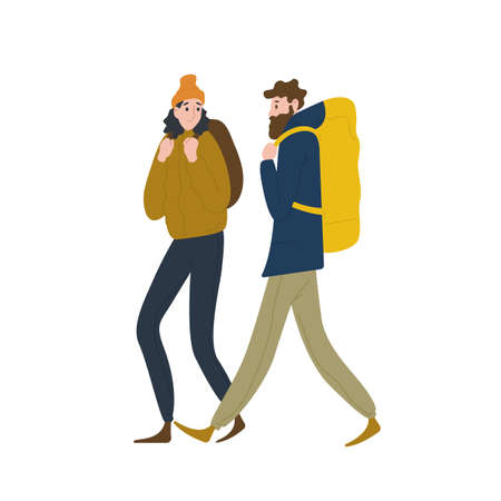 Pair of cute backpackers walking together. Boyfriend and girlfriend hiking or backpacking in nature. Male and female tourists or hikers in adventure travel. Flat cartoon colorful vector illustration
