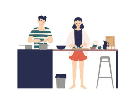 Cute young man and woman cooking meals in kitchen. Smiling boy and girl making lunch or dinner together at home. Daily life of happy romantic couple. Flat cartoon colorful vector illustration Vettoriali