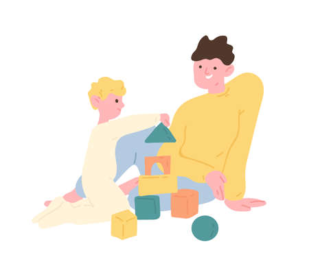 Father and son playing with toy building blocks or construction kit. Dad and kid spending time together at home. Parent and child enjoying leisure activity. Flat cartoon colorful vector illustration Ilustração
