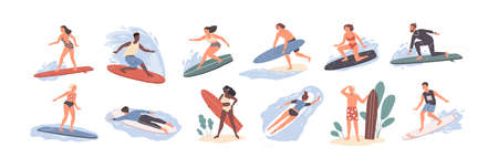 Collection of cute funny people in swimwear surfing in sea or ocean. Bundle of happy surfers in beachwear with surfboards isolated on white background. Colorful flat cartoon vector illustration  イラスト・ベクター素材