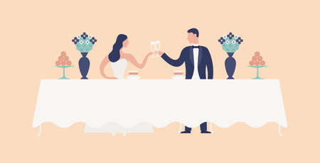 Bride and groom sitting at wedding feast table, clinking glasses and drinking champagne. Cute newlyweds celebrating marriage at restaurant. Funny romantic couple. Flat cartoon vector illustration