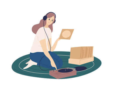 Funny girl wearing headphones putting vinyl records into turntable and listening to music. Cute young woman spending time at home and enjoying her hobby. Flat cartoon colorful vector illustration