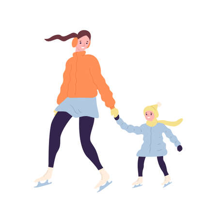 Happy cute mom and daughter on ice skates. Smiling mother and child in outerwear ice skating on rink. Winter outdoor family recreational or sports activity. Flat cartoon colorful vector illustration Foto de archivo - 128183364