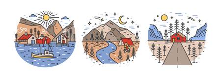 Bundle of round landscapes with mountains, sea and forest trees. Collection of touristic locations for outdoor recreation. Adventure travel set. Colorful vector illustration in lineart style