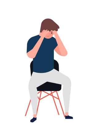 Giovane infelice che si siede sulla sedia. Ragazzo depresso. Personaggio maschile in depressione, dolore, tristezza, angoscia, guai. Disturbo mentale, malattia, problema psicologico. Illustrazione vettoriale di cartone animato piatto Vettoriali