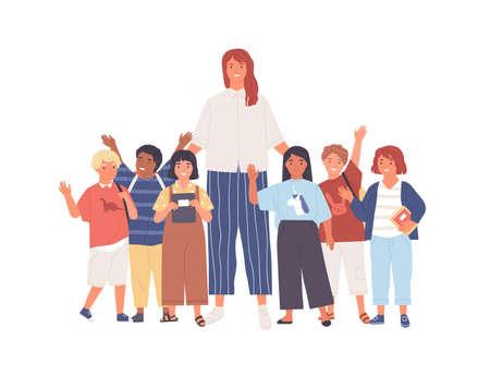 Gruppo di scolari allegri o alunni e insegnante femminile in piedi insieme. Giovane donna e simpatici bambini felici isolati su sfondo bianco. Illustrazione colorata in stile cartone animato piatto.