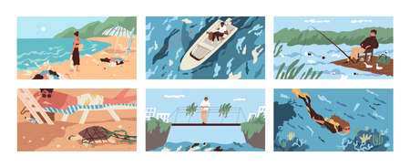 Collection of scenes with garbage and plastic debris floating in sea, ocean, lake or river or scattered along beach. Polluted water. Problem of marine pollution. Flat cartoon vector illustration