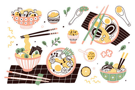 Bundle of ramen in bowls and chopsticks. Set of traditional Chinese or Japanese meal with noodles and broth. Collection of tasty Asian soup or stew, delicious food. Flat cartoon vector illustration Vektorové ilustrace