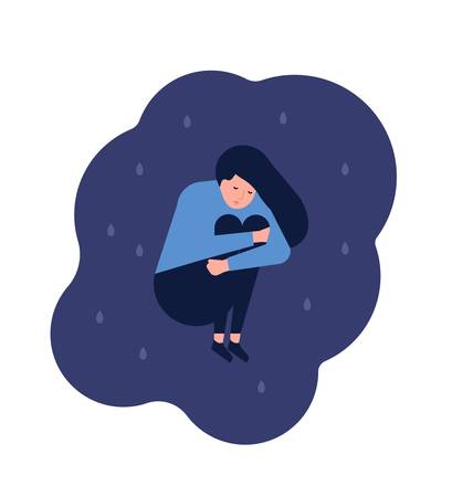 Miserable lonely young woman sitting on floor. Depressed, unhappy or upset girl. Female character in trouble, depression, sorrow, sadness. Mental disorder or illness. Flat cartoon vector illustration