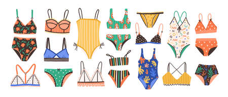Collection of stylish women's lingerie and swimwear isolated on white background. Set of fashionable underwear and swimsuits or bikini tops and bottoms. Flat cartoon colorful vector illustration