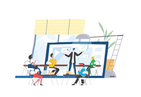 People sitting at desks in front of lecturer or speaker displaying on screen of giant laptop. Webinar, webcast, web conference, online course, internet education. Modern flat illustration.