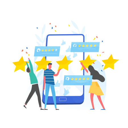 Group of people leaving five star rating and giant smartphone. Customer experience and satisfaction, positive feedback, product or service review and evaluation. Modern flat illustration.