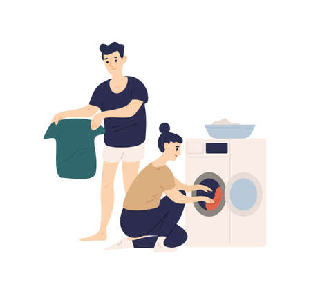 Adorable funny couple sorting clothes and putting it in washing machine. Cute smiling young man and woman doing laundry. Everyday life of modern spouses. Flat cartoon colorful vector illustration Stock Illustratie