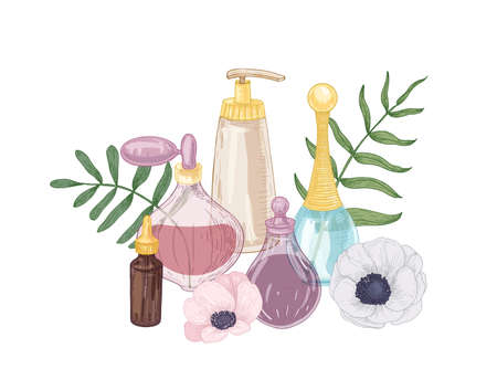 Elegant hand drawn decorative composition with perfume, toilet water, fragrant essential oil in glass bottles and blooming flowers on white background. Realistic vector illustration in vintage style