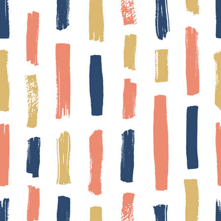 Creative seamless pattern with pink, blue and yellow vertical paint traces on white background. Abstract backdrop with brushstrokes. Hand painted vector illustration in grunge style for wallpaper Illustration