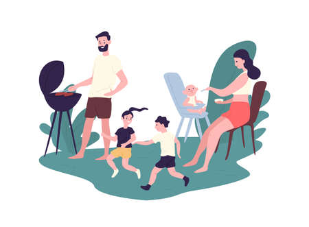 Happy family spending time at summer barbeque party. Funny mother, father and children performing recreational activities outdoors. Parents and kids at picnic. Flat cartoon vector illustration