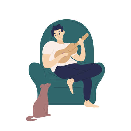Cute boy sitting in comfy armchair and playing ukulele for his dog. Funny adorable musician with guitar and his domestic animal. Young man relaxing at home. Flat cartoon colorful vector illustration