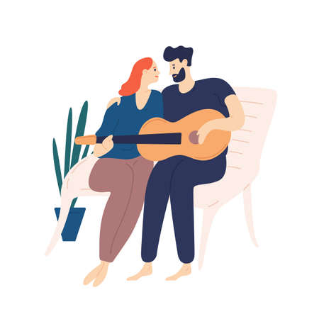 Lovely couple sitting on bench and playing guitar. Pair of young adorable man and woman cuddling and singing songs on romantic date. Boy and girl in love. Flat cartoon colorful vector illustration Ilustração