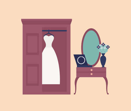 Elegant white wedding dress or gown hanging in wardrobe, wall mirror and dressing table with pearl beads or necklace on it. Bride s morning routine. Flat cartoon colorful vector illustration