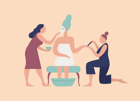 Braid with facial mask on face and pair of assistants making manicure and pedicure. Bridal morning routine, preparation for wedding celebration party. Flat cartoon colorful vector illustration Çizim