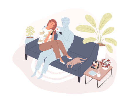 Young smiling woman sitting on comfy sofa with her virtual romantic partner, holding smartphone and sending love message. Concept of long-distance relationship. Flat cartoon vector illustration