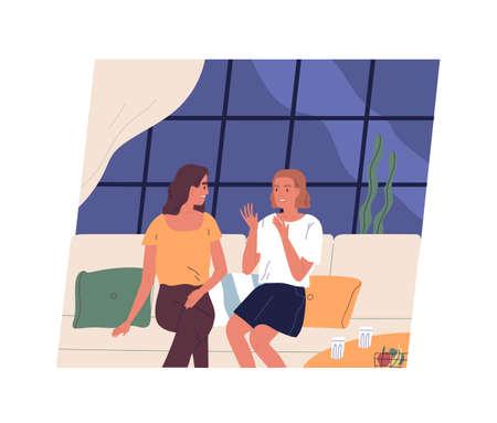 Par de niñas felices sentados en el sofá y hablando. Dos amigas charlando en el café. Mujeres que pasan tiempo juntas. Conversación amistosa diaria. Ilustración colorida de dibujos animados plana.