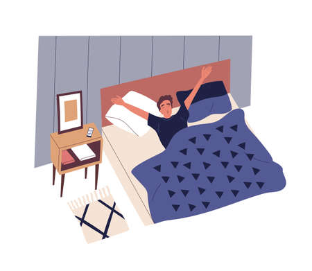 Cute young man waking up in morning. Male character lying in bed, yawning and stretching. Start of working day, everyday life, daily activity. Colorful vector illustration in flat cartoon style Stock Illustratie