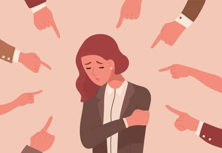 Unhappy young woman surrounded by hands with index fingers pointing at her. Concept of victim blaming, public disapproval, humiliation, abjection, guilt. Flat cartoon colorful vector illustration 向量圖像