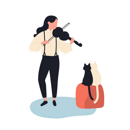 Cute girl playing violin for her cats. Funny adorable female musician and kittens isolated on white background. Musical performance for domestic animals. Flat cartoon colorful vector illustration