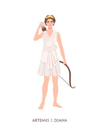 Artemis or Diana - goddess or deity of hunt, Moon and chastity in Greek and Roman pantheon. Young mythical woman with bow and arrows isolated on white background. Flat cartoon illustration.