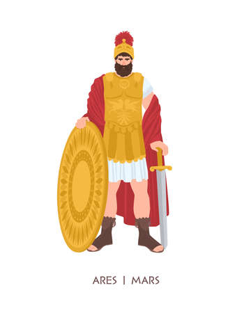 Ares or Mars - Olympian god or deity of war in Greek and Roman religion and mythology. Male character wearing armor and helmet isolated on white background. Flat cartoon colorful illustration.