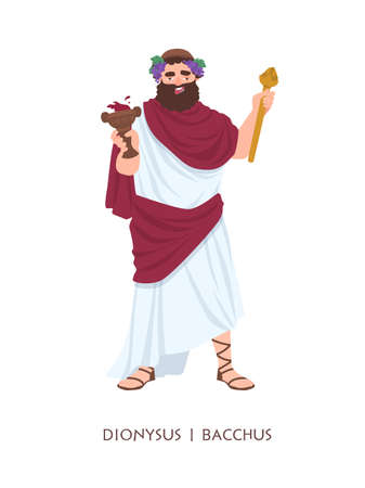Dionysus or Bacchus - god or deity of wine, winemaking and fertility in ancient Greek and Roman religion or mythology. Mythological character isolated on white background. Cartoon illustration.