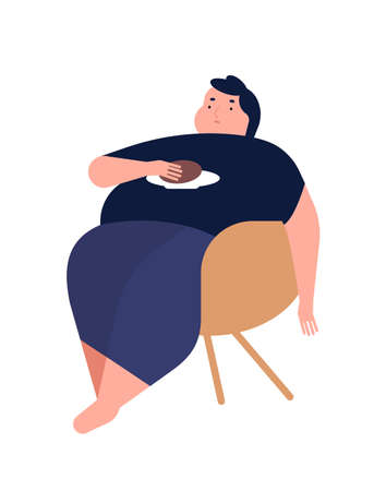 Obese young man. Fat boy sitting on chair. Concept of obesity, binge eating disorder, food addiction. Mental illness, behavioral problem, psychiatric condition. Flat cartoon illustration.
