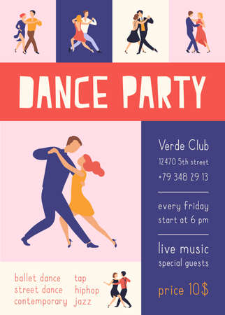 Flyer or poster template with elegant people dancing Argentine tango for dance party or festival advertisement. Modern flat cartoon colorful illustration for the promotion of choreography event.
