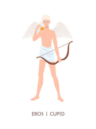 Eros or Cupid - god or deity of love and passion in ancient Greek and Roman religion or mythology. Cute boy with wings, arrows and bow isolated on white background. Flat cartoon illustration. Vettoriali