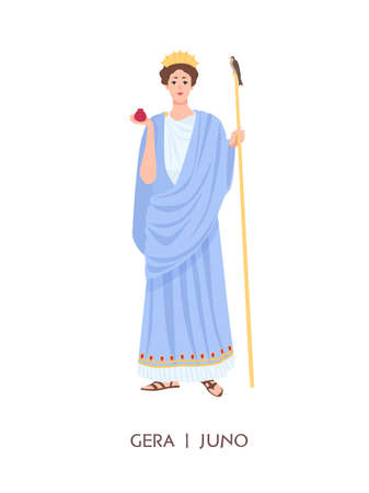 Hera or Juno - goddess of women, marriage, family and childbirth in ancient Greek and Roman religion or mythology. Female cartoon character isolated on white background. Flat illustration.