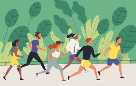 Men and women dressed in sportswear jogging or running through park. Sports competition, outdoor workout or exercise, athletics. Healthy active lifestyle. Flat cartoon colorful vector illustration Illustration