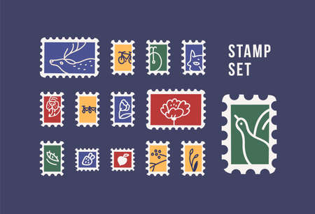 Collection of postage stamps with animals, birds, flowers and fruits isolated on dark background. Philately set. Bundle of decorative design elements. Flat cartoon colorful vector illustration