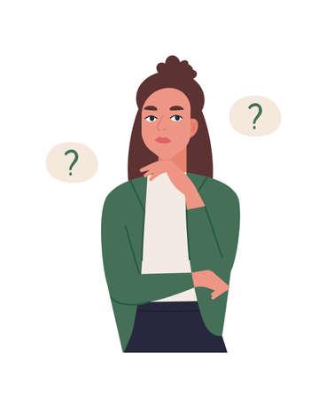 Problema di soluzione della giovane donna curiosa. Ragazza pensierosa o pensante circondata da palloncini di pensiero con punti di interrogatorio. Personaggio femminile che fa domande. Illustrazione vettoriale colorato piatto del fumetto Vettoriali