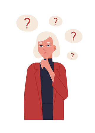 Portrait of cute blonde girl in jacket thinking or reflecting isolated on white background. Young woman surrounded by thought bubbles with question marks. Flat cartoon colorful vector illustration