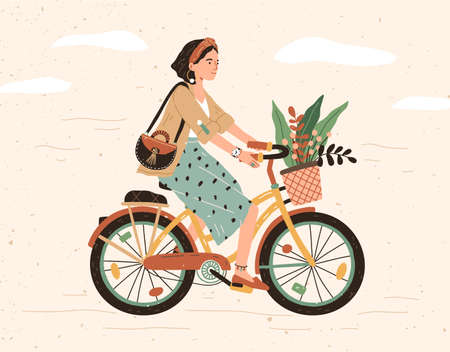 Funny smiling girl dressed in stylish clothes riding bicycle with flower bouquet in front basket. Cute happy young woman on bike. Adorable female bicyclist. Flat cartoon colorful vector illustration
