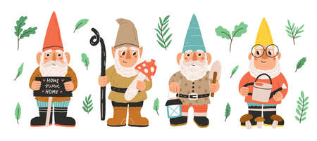 Collection of garden gnomes or dwarfs holding lantern, banner, mushroom, watering can. Set of cute fairytale characters. Bundle of lawn ornaments or decorations. Flat cartoon vector illustration