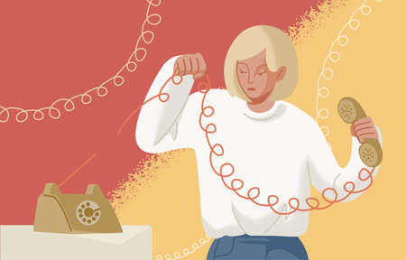 Adorable blonde woman holding telephone handset with torn wire. Concept of break up, assertiveness, disconnect, breaking of unwanted social ties, end relationship. Flat cartoon illustration.