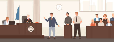 Advocate or barrister giving speech in courtroom in front of judge and jury. Legal defence, public hearing and criminal procedure at court or tribunal. Flat cartoon colorful vector illustration Standard-Bild - 128183451
