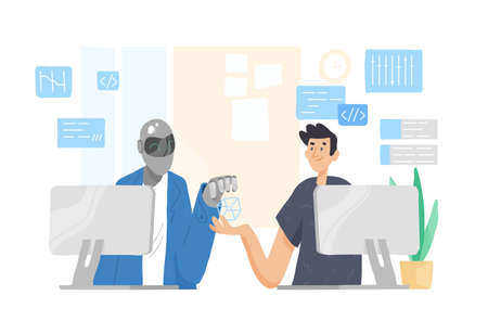 Robot and man sitting at computers and working together at office. Cooperation, support and friendship between guy and android. Human and artificial intelligence. Modern flat illustration.